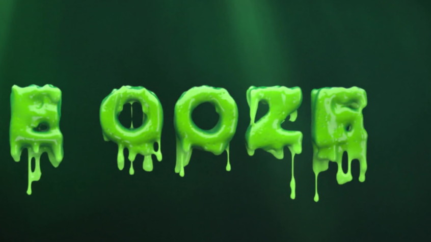 The word ooze in 3D rendered text